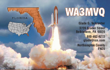 QSL Card Style QSL14, Florida Map, Shuttle Liftoff - Photo by NASA