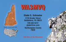 QSL Card Style QSL15, New Hampshire Map, Old Man of the Mountain
