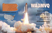 QSL Card Style QSL25, Pennsylvania  Map, Shuttle Liftoff - Photo by NASA