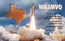 QSL Card Style QSL27, Texas  Map, Shuttle Liftoff - Photo by NASA